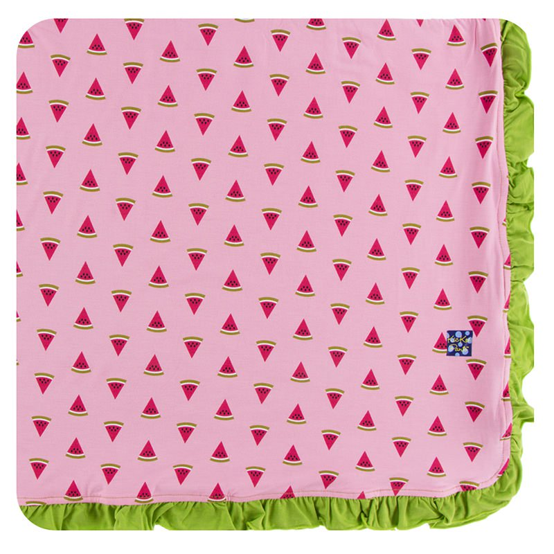 Lotus Watermelon Ruffle Toddler Blanket w/ Meadow Trim & Meadow Reverse