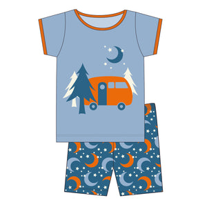Twilight Moon & Stars Short Sleeve Pajama Set w/ Shorts
