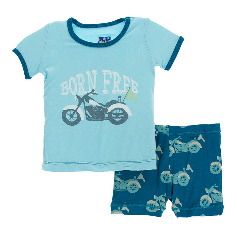 Heritage Blue Motorcycle Short Sleeve Pajama Set with Shorts