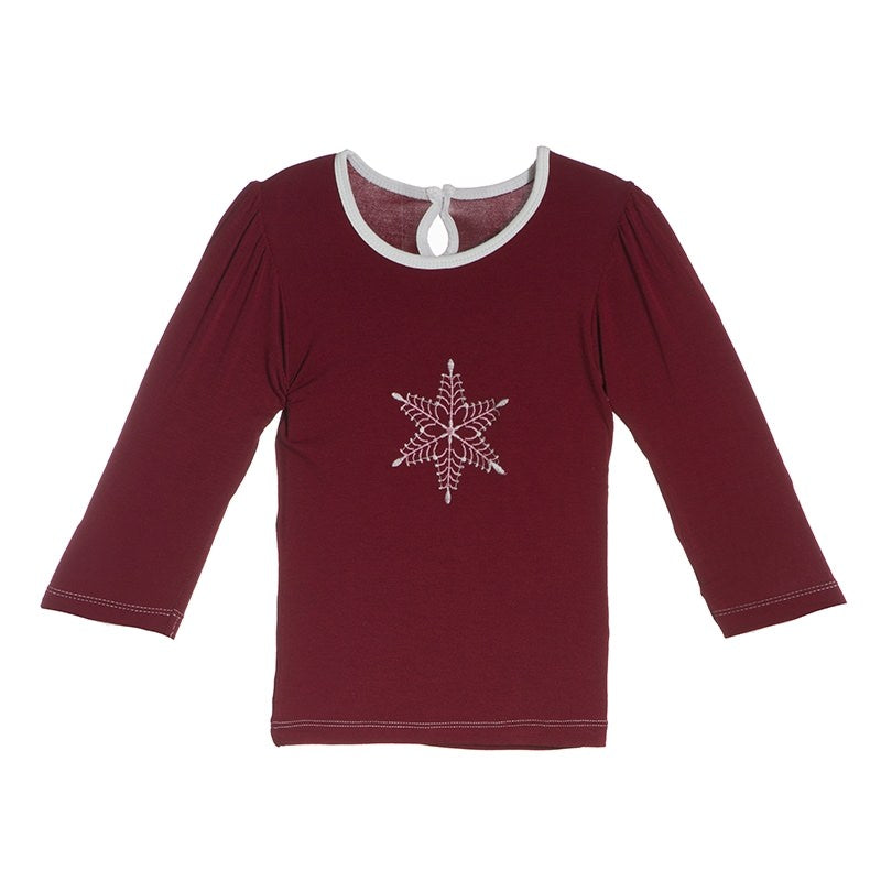 Brick Snowflake Appliqué Long Sleeve Puff Tee