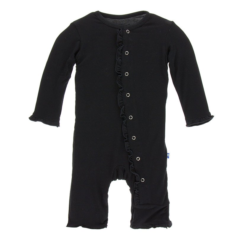 Midnight Classic Ruffle Coverall w/ Snaps