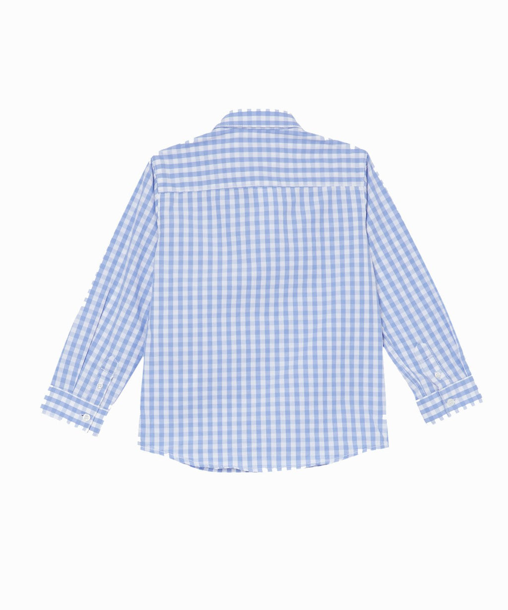 Light Blue & White Check Long Sleeve Button Down Shirt