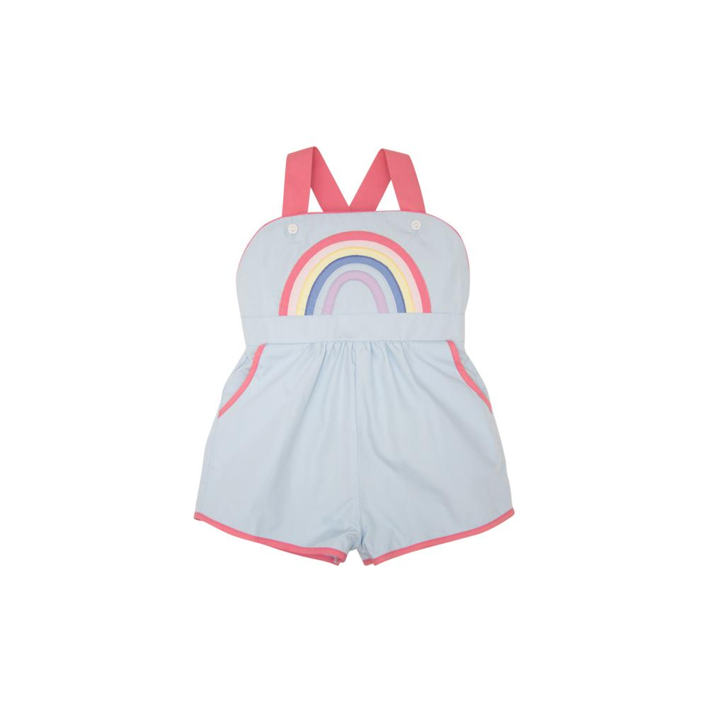 Buckhead Blue with Hamptons Hot Pink and Rainbow Applique Ruthie Romper