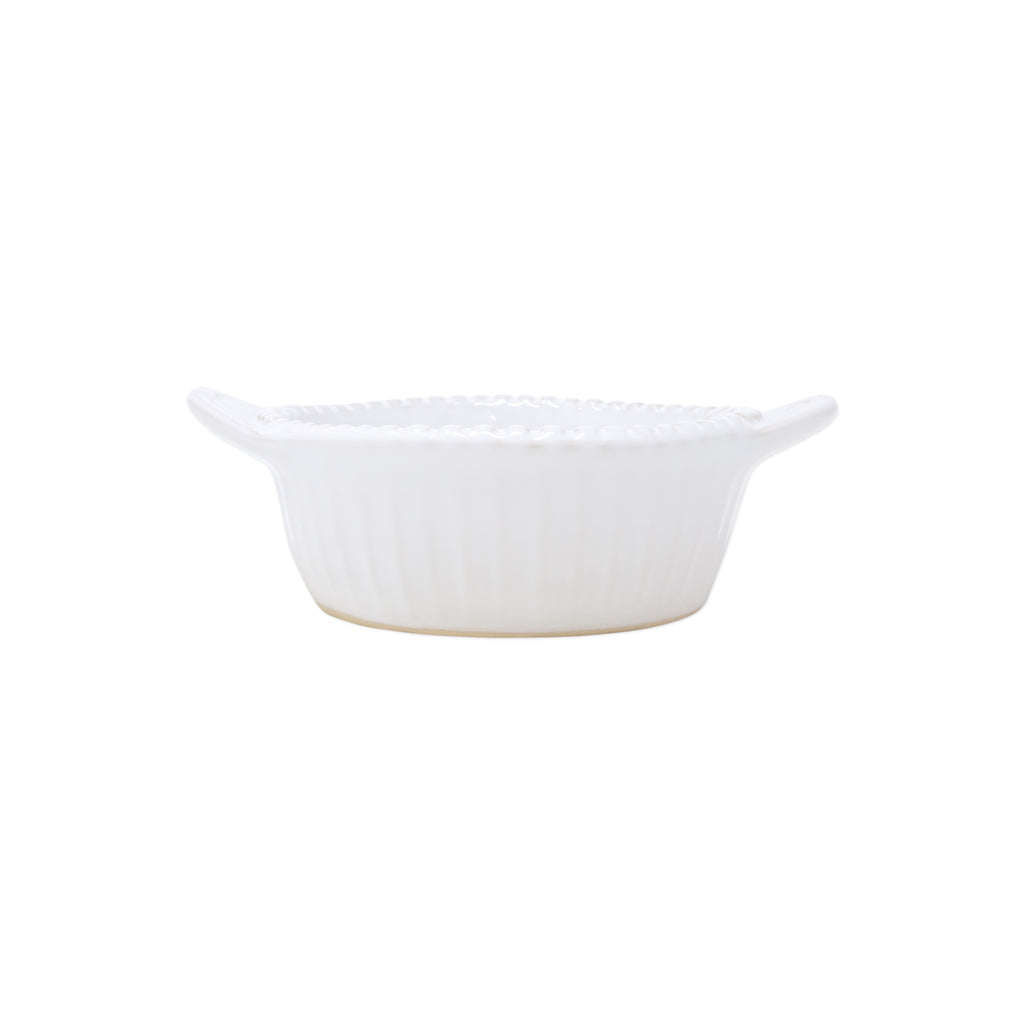 Incanto Stone White Stripe Handled Small Baker