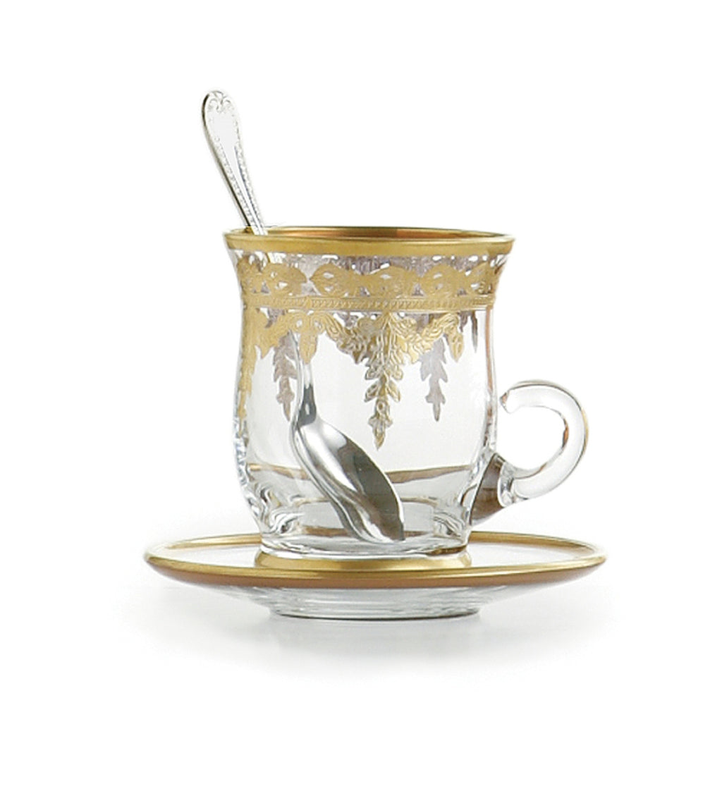 Vetro Gold Cup & Saucer with Spoon
