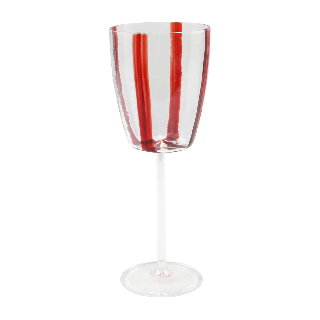 Stripe Red Wine Glass