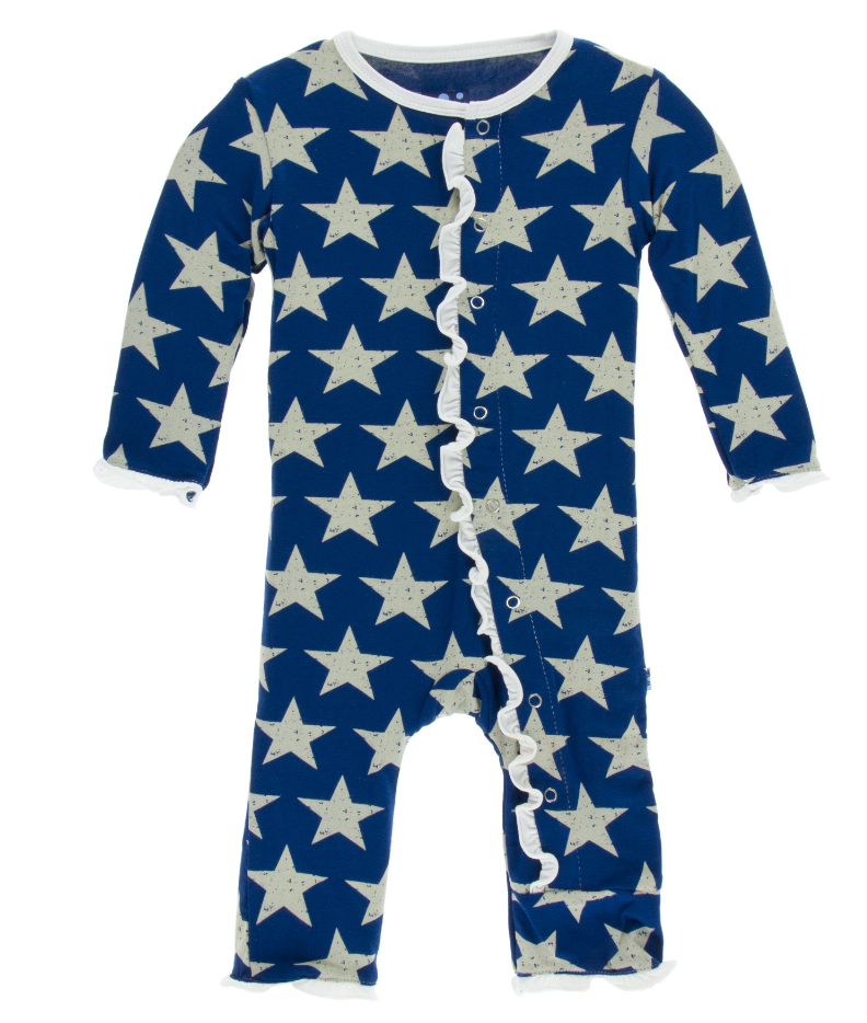 Vintage Stars Muffin Ruffle Coverall with Snaps