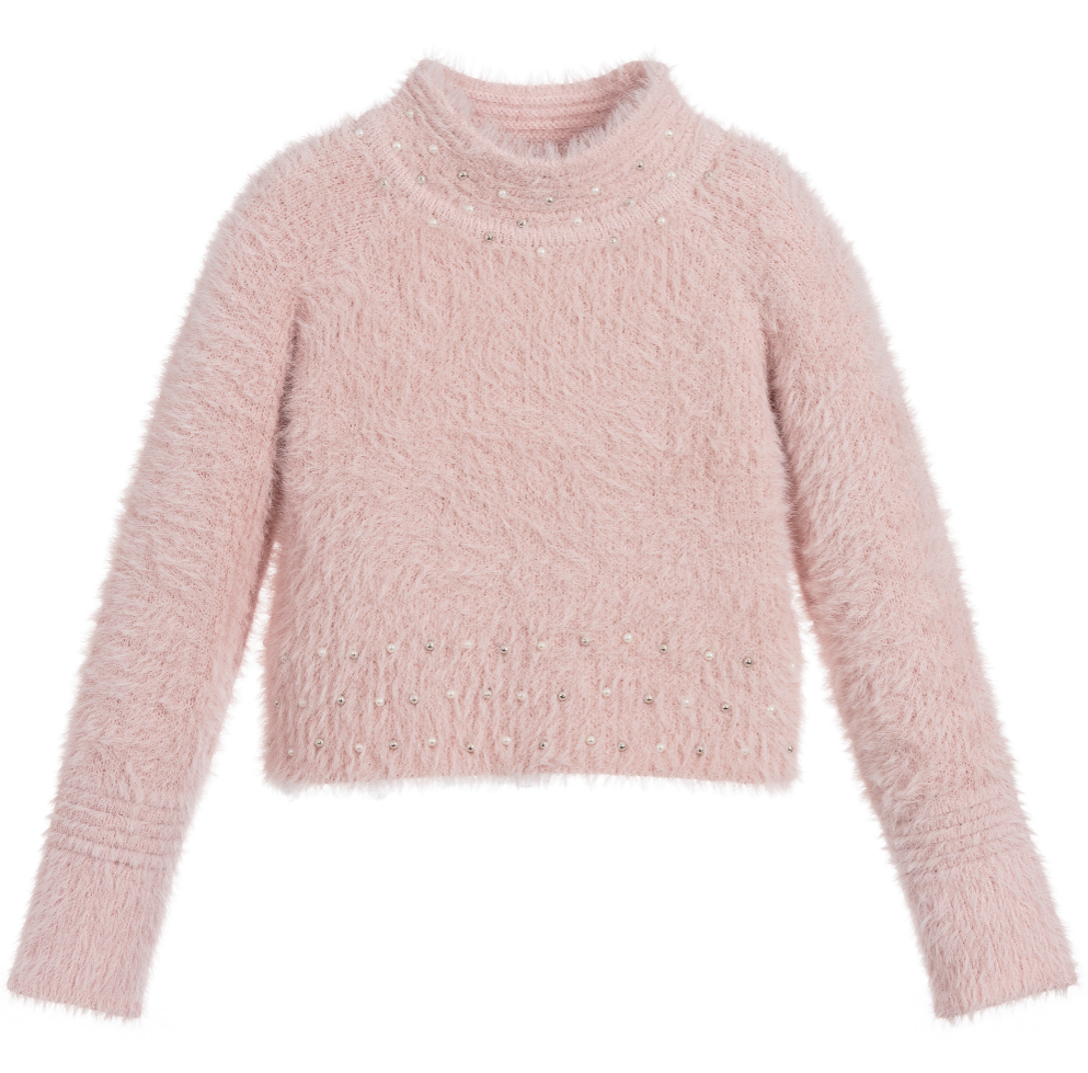 Pink Fluffy Pearl Sweater