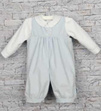 Blue Corduroy Romper & White Shirt Set