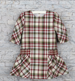 Green & Red Plaid Dropwaist Dress