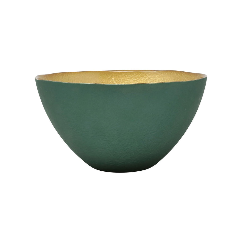 Two-Tone Glass Emerald & Gold Small Deep Bowl