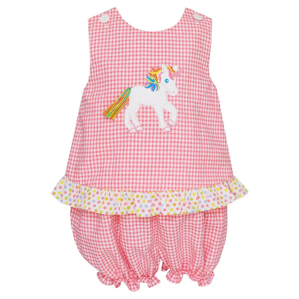 Pink Gingham Seersucker Unicorn Bloomers Set