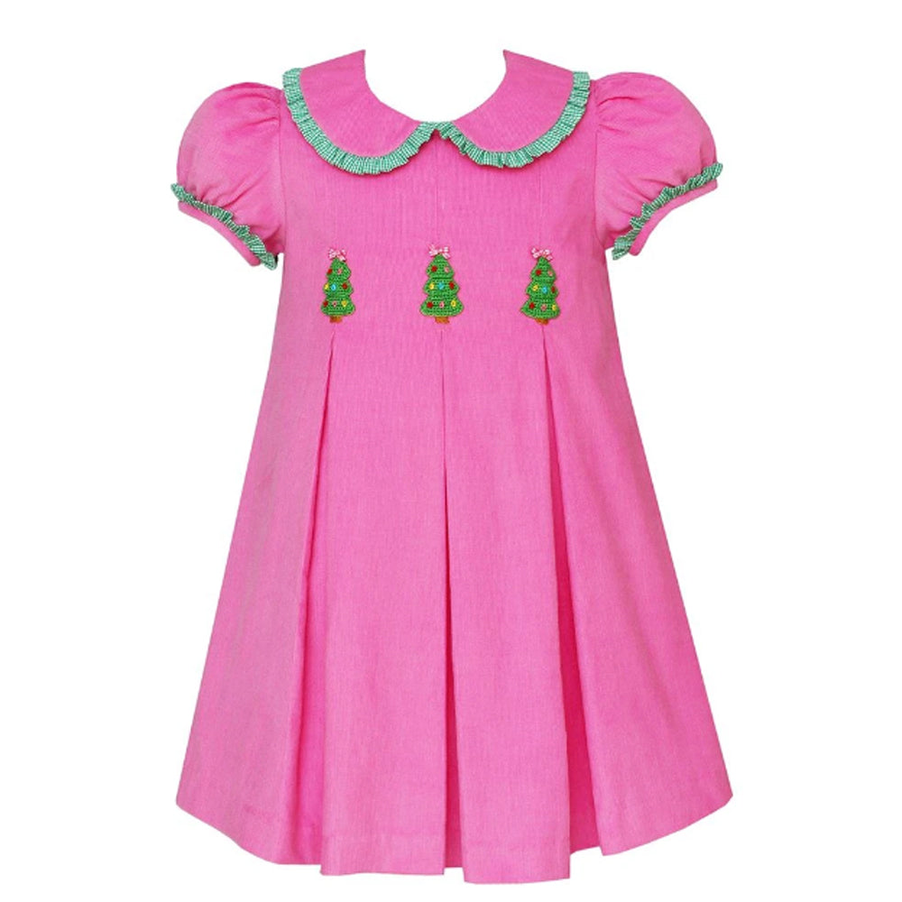 Bubblegum Pink Corduroy Christmas Tree Pleated Dress