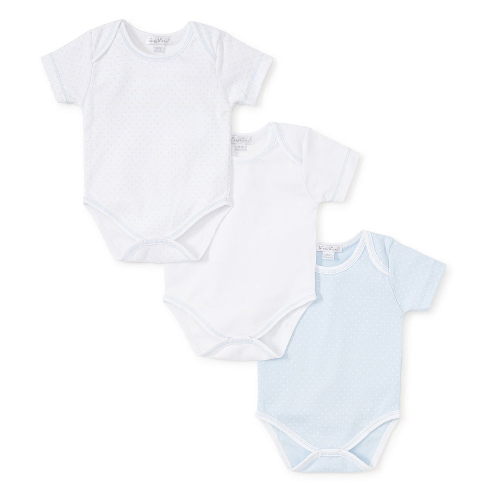 Blue Polka Dot Short Sleeve Onesies - Set of 3