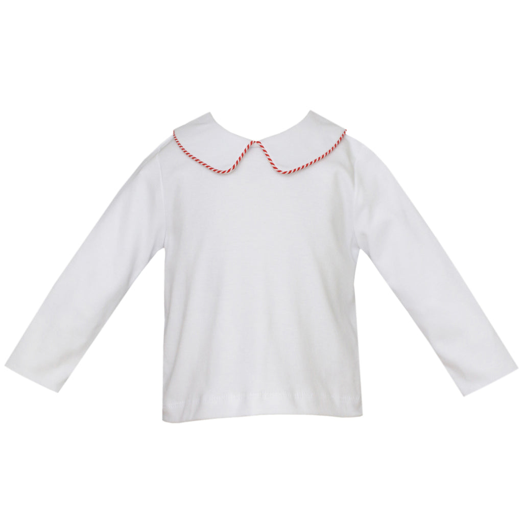 White Knit Shirt w/ Red Stripe Piped Collar