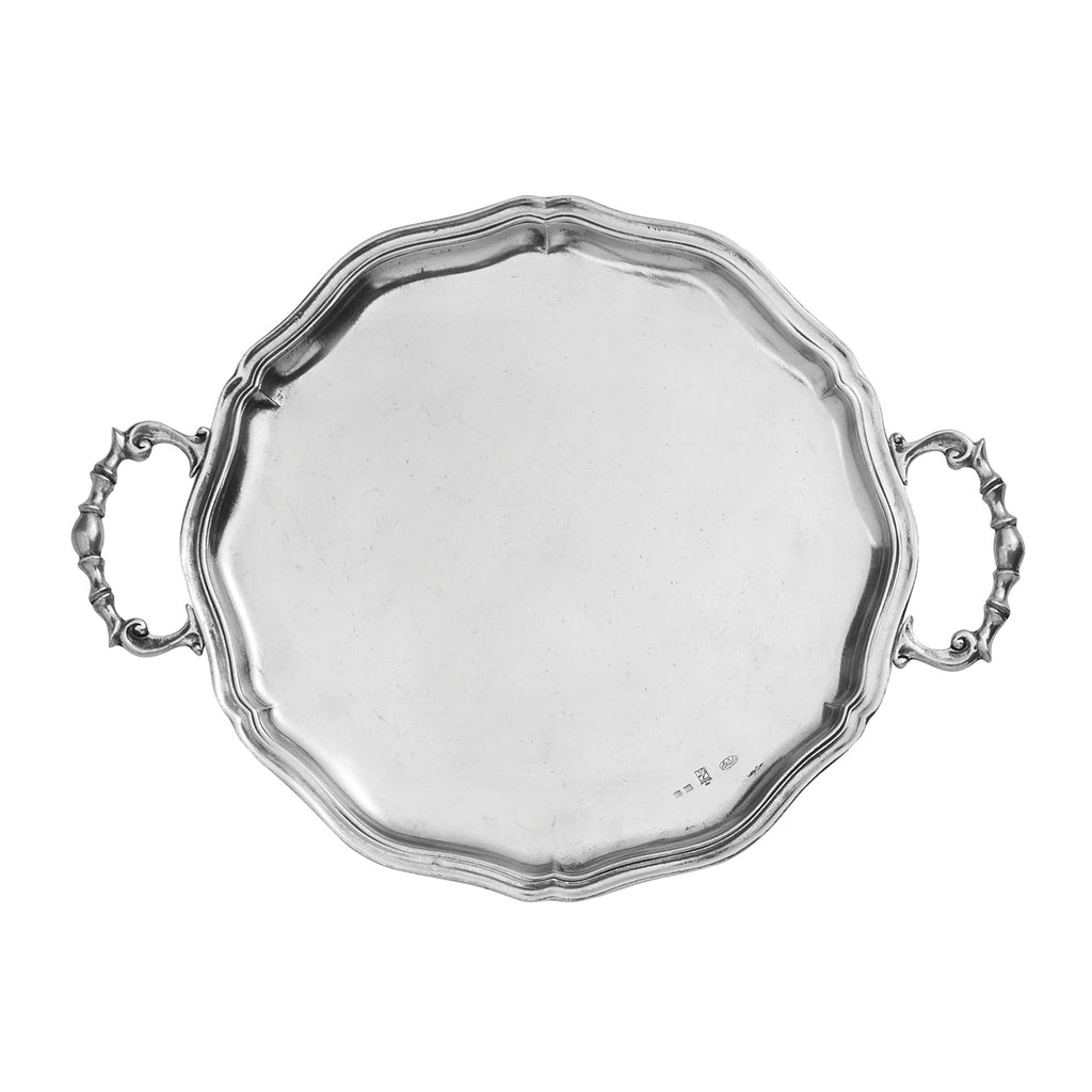 Vintage Scalloped Tray with Handles