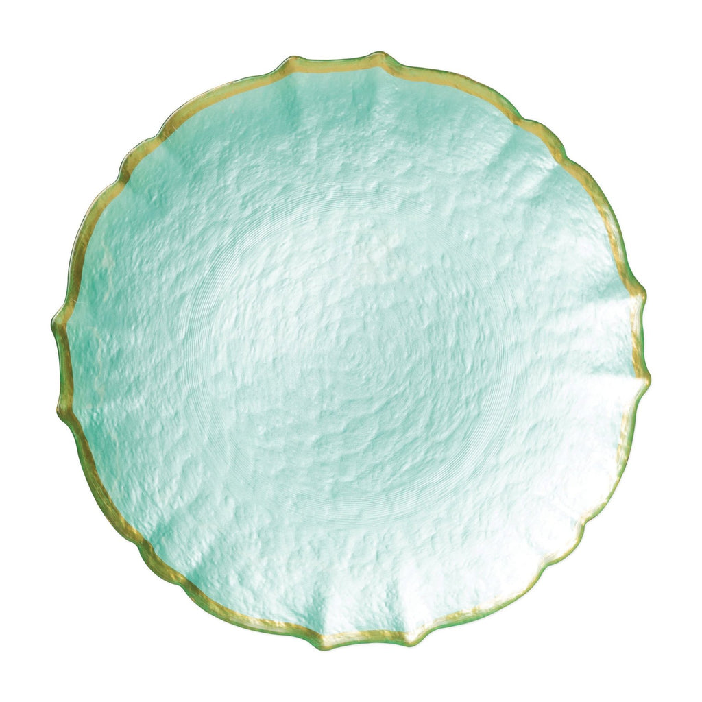 Baroque Glass Aqua Service Plate/Charger