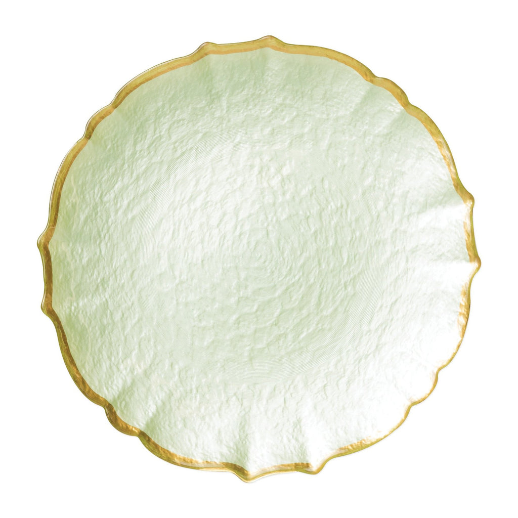 Baroque Glass Pistachio Service Plate/Charger