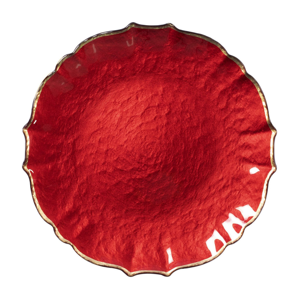 Baroque Glass Red Service Plate/Charger