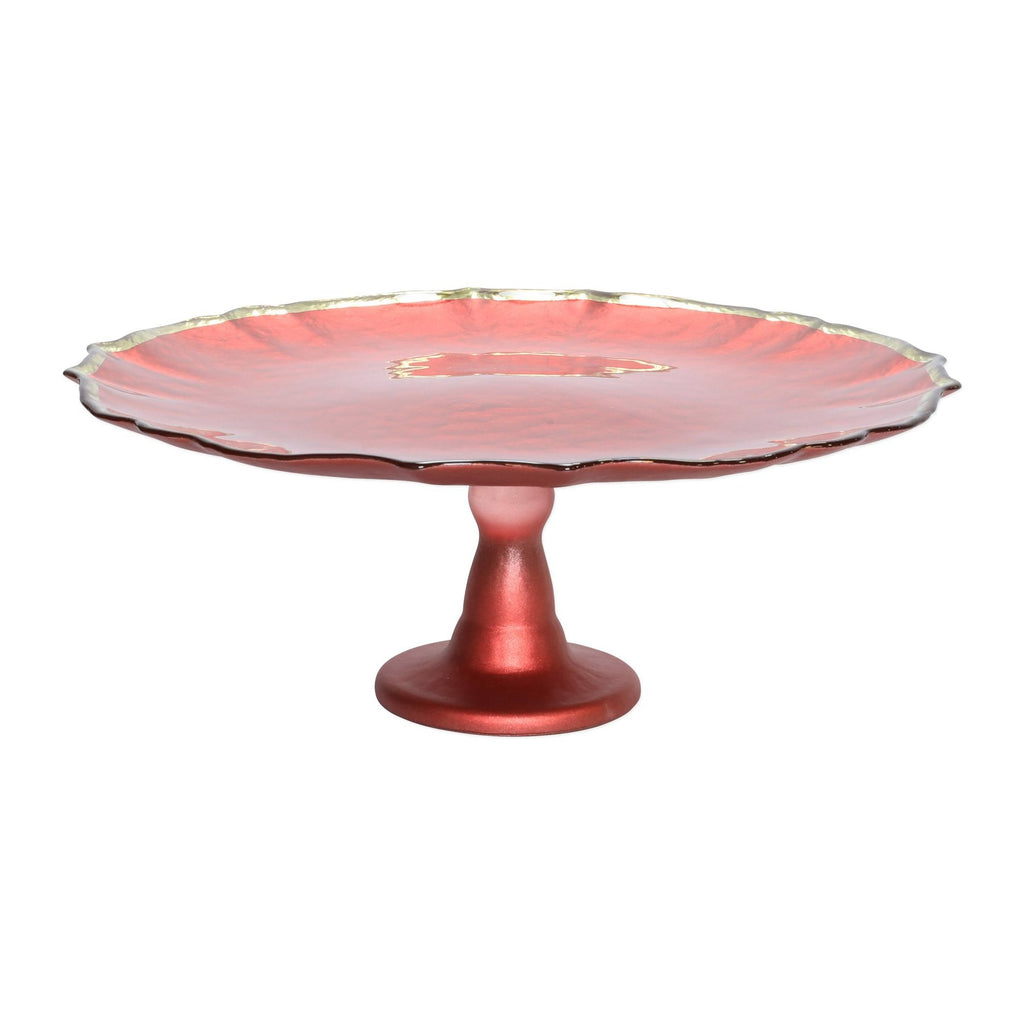 Red Baroque Glass Cake Stand