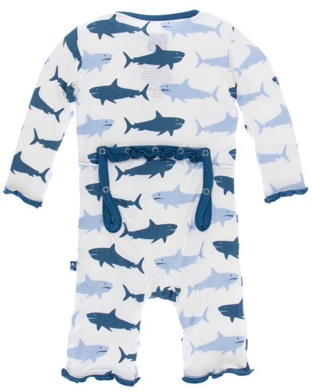 Natural Megalodon Muffin Ruffle Coverall w/ Snaps