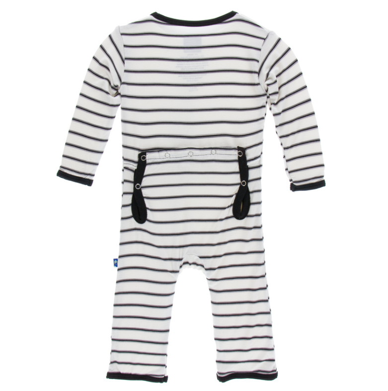 Neutral Parisian Stripe Coverall w/ Snaps