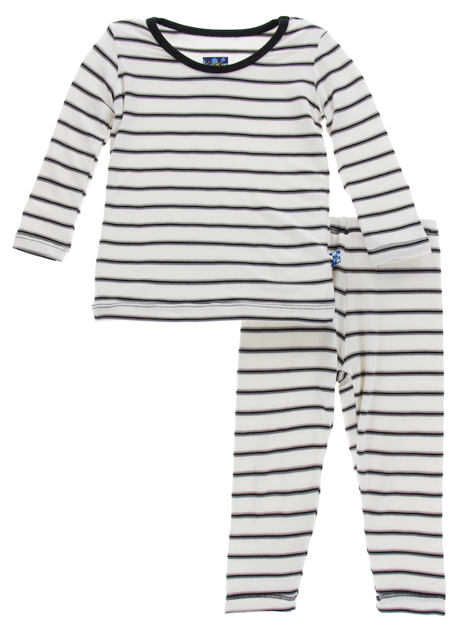 Neutral Parisian Stripe Long Sleeve Pajama Set