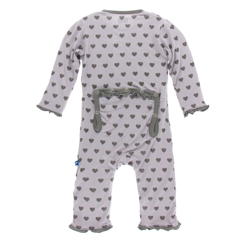 Feather Hearts Classic Layette Ruffle Coverall