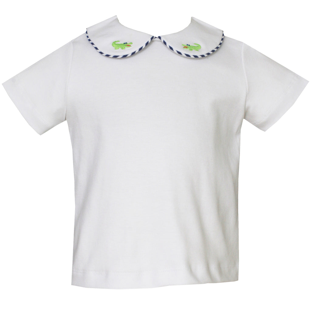 White Peter Pan Collar Shirt With Embroidered Alligators