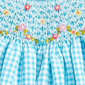 Luli & Me - Turquoise Gingham Seersucker Bishop Dress w/ Bloomers - kkgivingtree