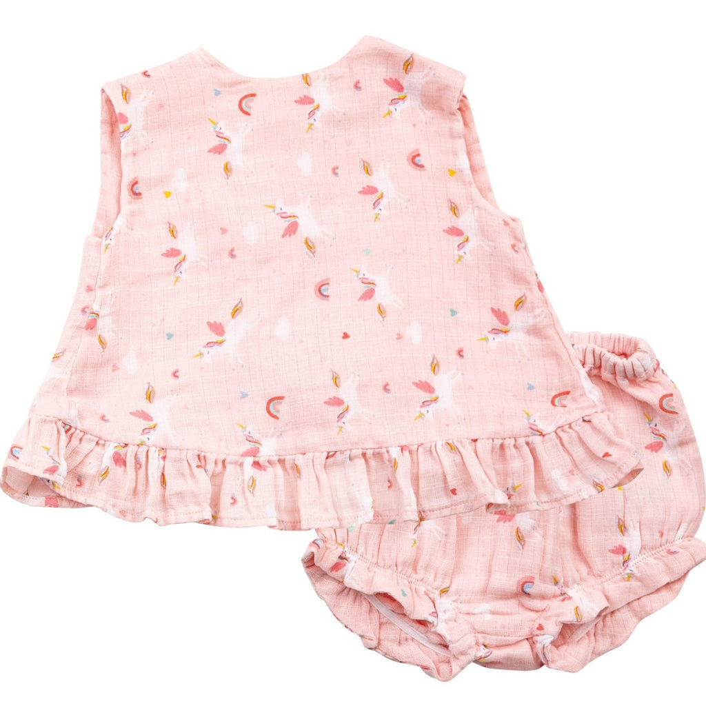 Pink Unicorn Top and Bottom Set with Ruffles