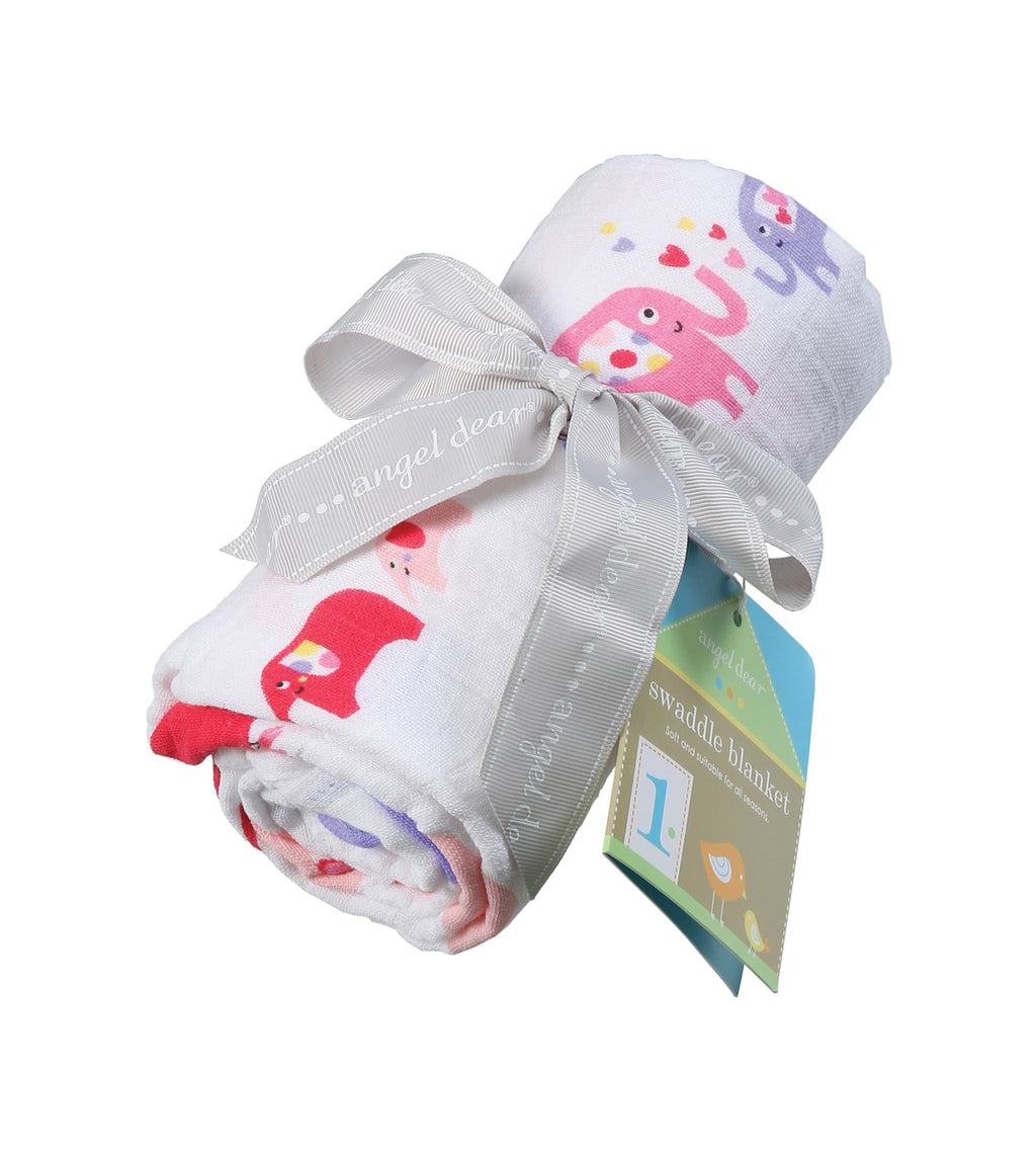 Angel Dear - Pink Elephant Bamboo Muslin Swaddle - kkgivingtree - K&K's Giving Tree