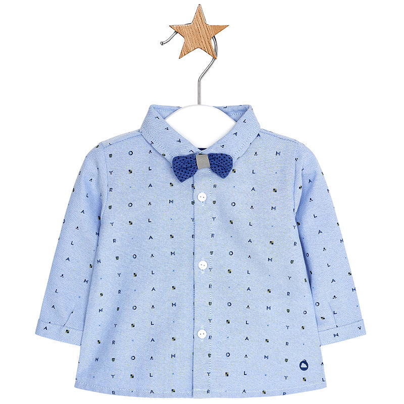 Blue Alphabet Shirt with Bow Tie
