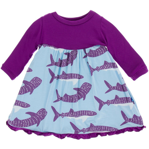 Pond Whale Shark Classic Long Sleeve Swing Dress