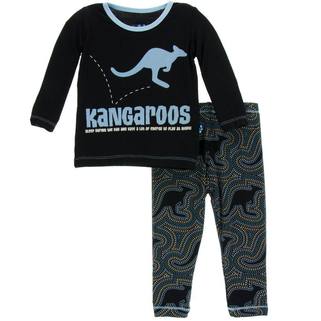 Midnight Kangaroo Long Sleeve Pajama Set