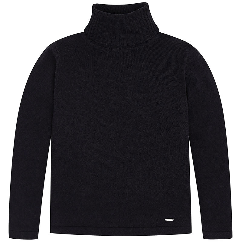Black Knitted Cotton Turtleneck Sweater