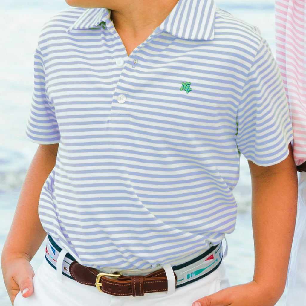 Bailey Boys - Blue & White Stripe Short Sleeve Polo - K&K's Giving Tree - kkgivingtree