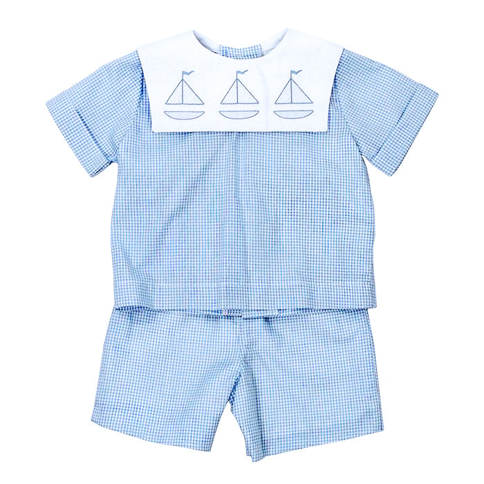 Sailboat Shadow Stitched Short Set