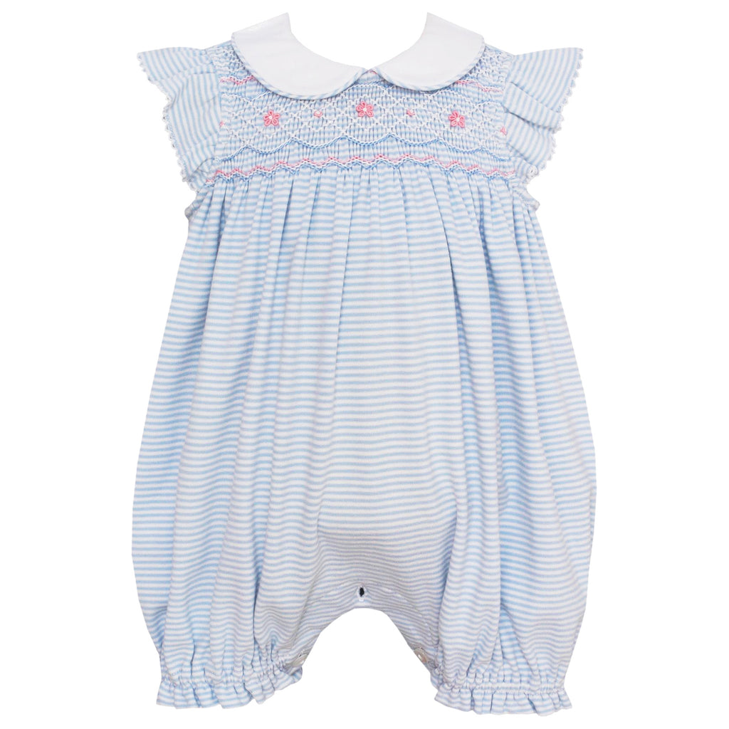 Light Blue Striped Bubble With Ruffle Sleeves & Collar