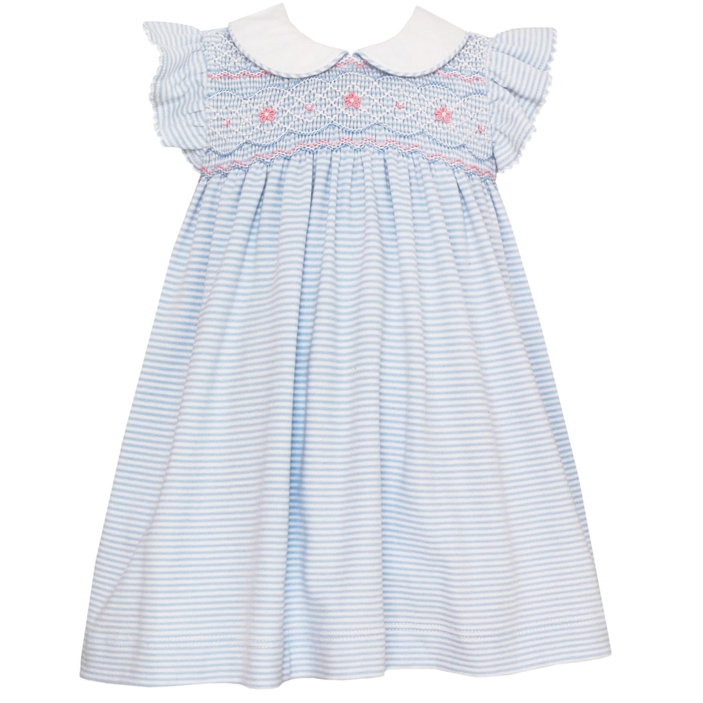Light Blue Striped Dress With Ruffle Sleeves & Collar