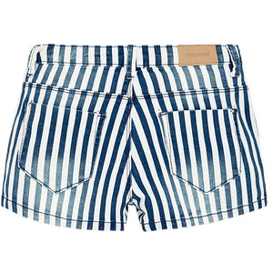 Blue & White Stripe Denim Shorts