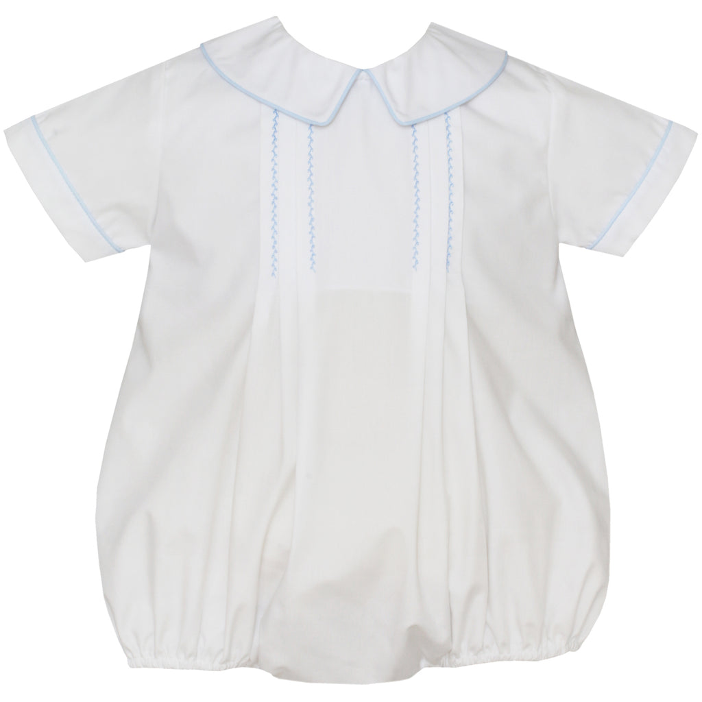Boy's White Bubble With Collar and Light Blue Smocking