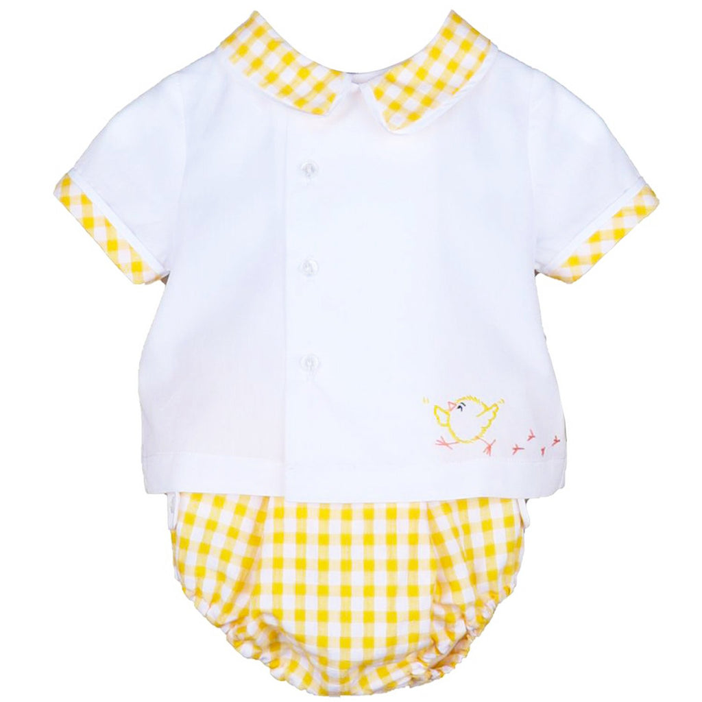 Sunny Yellow Gingham Two Piece Set