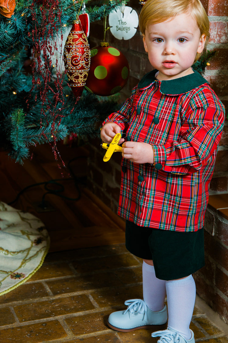 Christmas Forest Corduroy & Tartan Plaid Dressy Short Set