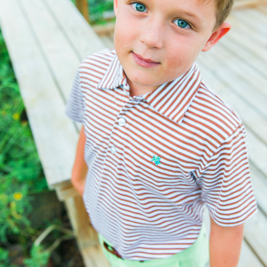 Bailey Boys - Brown & White Stripe Short Sleeve Polo - K&K's Giving Tree - kkgivingtree