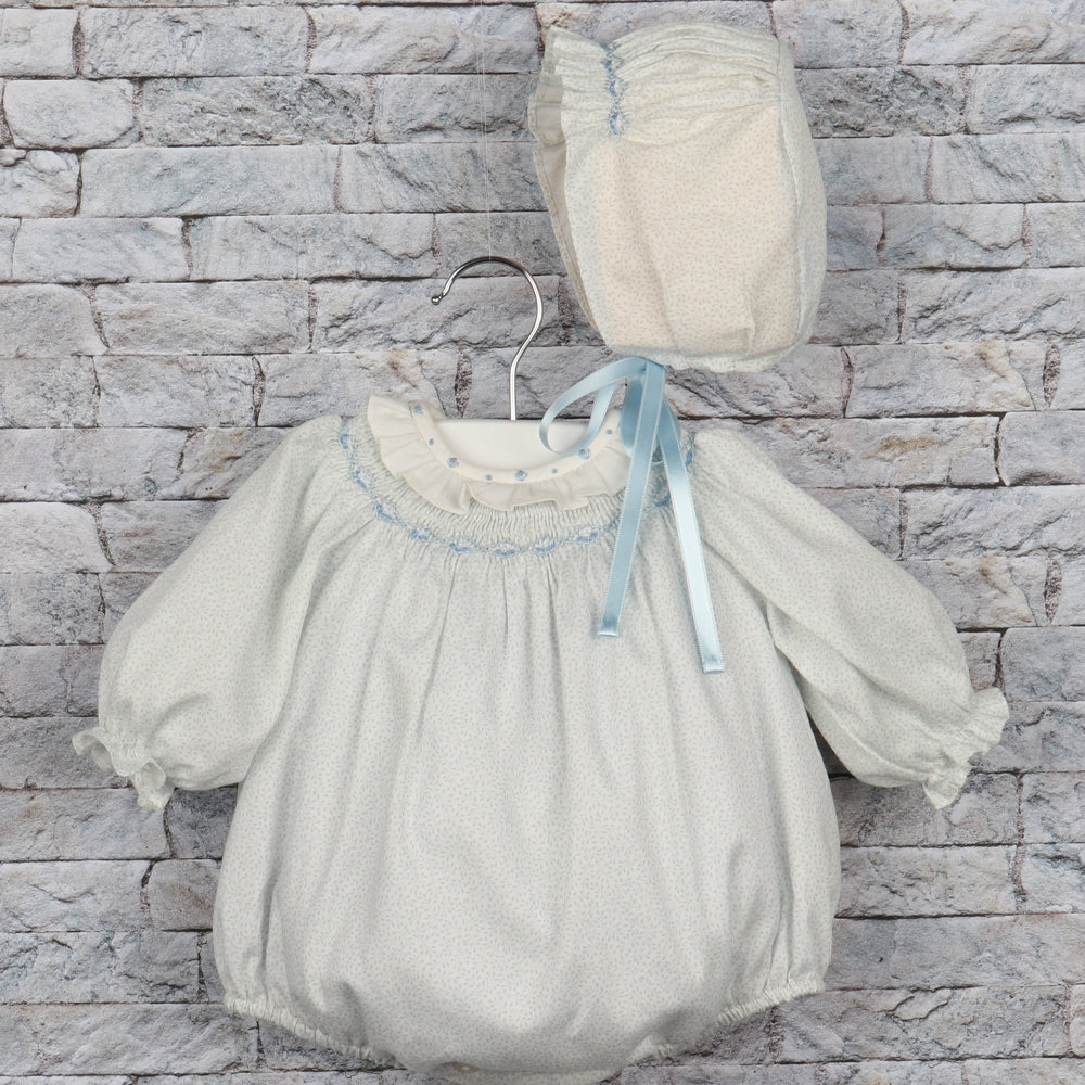 Smocked Blue Leaves Bubble with Bonnet