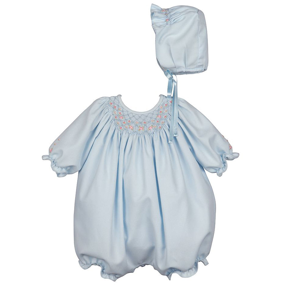 Blue Smocked Bubble with Bonnet