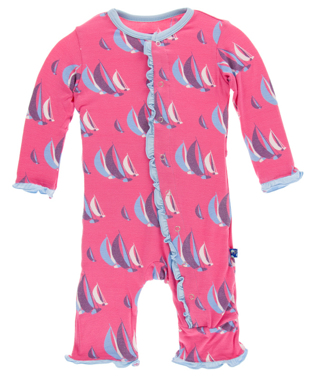 Flamingo Sailing Race Classic Ruffle Coverall w/ Snaps