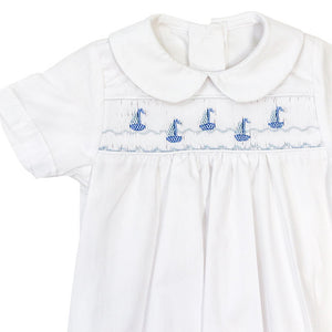 Smocked Sailboats Sack Gown