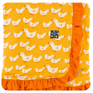 KicKee Pants - Fuzzy Bee Ducks Ruffle Stroller Blanket - kkgivingtree - K&K's Giving Tree